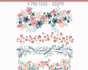 Digital Floral Borders Flowers Clip Art Scrapbooking