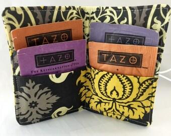 Tea Wallet - Tea Bag Wallet - Tea Bag Case Tea Bag Holder - Tea Holder - Tea Bag Cozy - Tea Bag Organizer - Joel Dewberry Damask in Granite