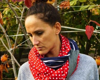 Red Polka Dot Scarf, Red Circle Scarf Womens Scarf Red Scarf, Blue Scarf, Circle Scarf, Womens Scarves Long Circle Scarf, Infinity Scarves