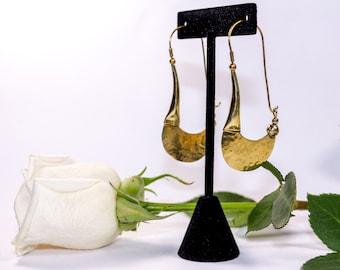 Brass Crescent Dangle Earrings
