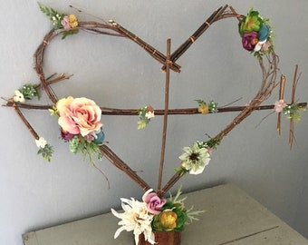 Woodland Twig Heart Sculpture Rustic Wedding Heart Wreath Fairytale Party Bohemian Decor Boho Arrow Floral Monogram Cake Table Farmhouse