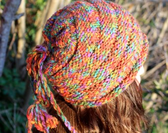 hand knit hat, knit beanie, spring hat, woman hat, knit hat, brown hat, boho hat, bohemian hat, accessories, brown hat, berets