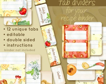 DIY editable Keepsake Recipe Tabs set of 12,  coordinates with Keepsake Recipes printables sold separately, from original watercolor art