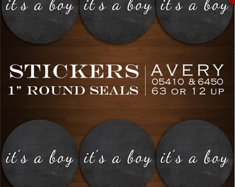 Instant Download - Chalkboard Sticker Envelope Seals  - It's a boy baby shower Design Stickers Bottlecaps Avery 05410 & 6450 Stickers