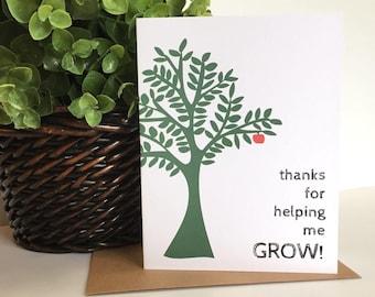 Teacher Thank You Card, Teacher Appreciation Card, Thank You For Helping Me Grow, Teacher Cards, Thank You Card for Teacher, Teacher Thanks