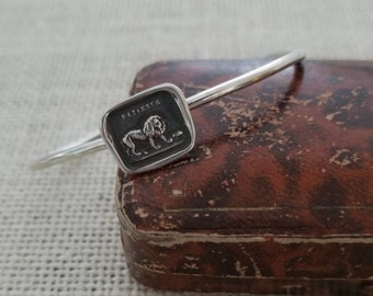Lion and the Mouse Cuff Bracelet - Aesop's Fable Antique Wax Seal Necklace - 286