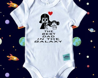 Starwars Inspired Father's Day Baby Bodysuit: My Dad is the Best DAD in the Galaxy- Father's Day Outfit, Starwars Baby, From Baby