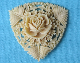 Brooch Pin Molded Cream Celluloid Intricate Lacy Detail Rose & Flowers Lilies of the Valley Ferns Japan Vintage 1930's