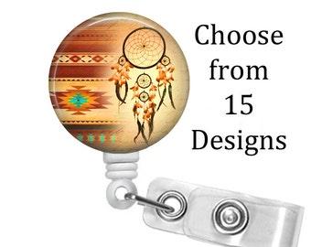 Dreamcatcher Badge Reel, ID Badge Holder clip, Medical Badge Reel, Southwest Badge Reel, Eagle Badge Reel, Feather Badge Reel