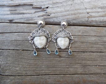 Beautiful moon face Goddess earrings handmade in sterling silver with genuine blue topaz