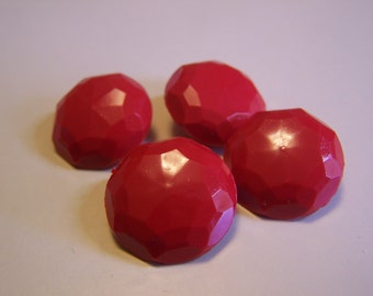 """Vintage 3/4"""" Red Faceted Buttons, Set of 4 (1651)"""