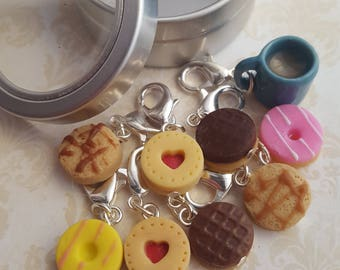 Knitting stitch markers, polymer clay biscuits, tea and biscuit charms, knitting notions, planner accessory, food charms