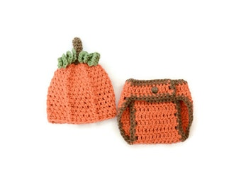 Crochet Baby Pumpkin Hat, Baby Halloween Photo Prop, Pumpkin Baby Photo Prop, Halloween Baby, Baby Halloween Hat, Baby Photography Prop