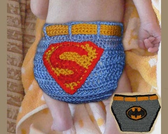 Baby Superman and Batman Diaper Cover -INSTANT DOWNLOAD Crochet Pattern