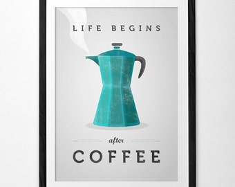 Life begins after coffee print coffee poster Kitchen wall art Retro print Chartreuse print Chartreuse kitchen green kitchen print