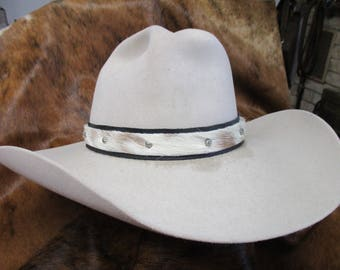Cowboy Hat Band, SASS Hat Band, Hat Band, Reenactor Hat Band, Cowgirl Hat Band, Hair On Cowhide Leather Hat Band with Umbrella Spots