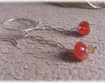 Carnelian Disk Bead and Crystal Earrings - Ember Drops