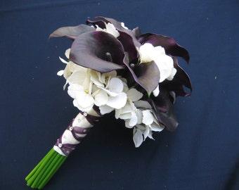Wedding Bouquet Eggplant Calla Lilies and Hydrangea