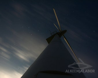 Wind turbine and stars in the night sky - fine art photography, instant download printable art, wall art, home decor, office decor