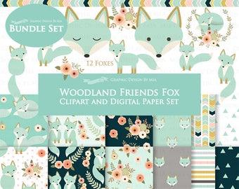 Fox Clipart, Mint Fox, Woodland Friends, Fox Digital, Fox Clip Art + Digital Paper Set - Instant Download