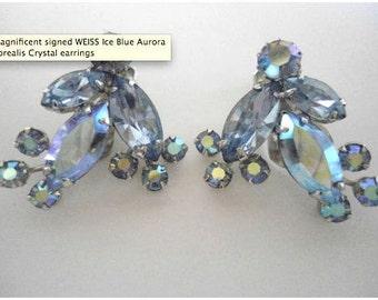 Weiss Light Blue Rhinestone Clip-on Earrings 1950s