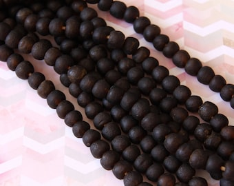 African Recycled Glass Dark Reddish Brown Round Beads - ARG 154