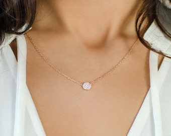 Rose Gold Silver Disk Necklace, Circle Pendant Necklace, Cubic Zirconia Crystal necklace, Eternity Necklace, Rose Gold Necklace, N246-RG