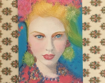 Pink and Green Fashion Girl Art Painting