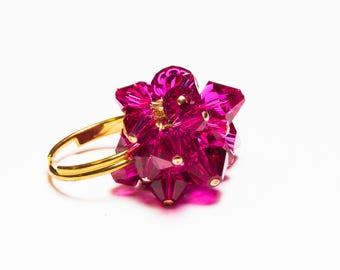 Swarovski crystal gold plated ring