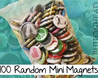"100 Random Refrigerator Magnets Mix – 1"" Mini Bulk Resale Wholesale Loose Lot"