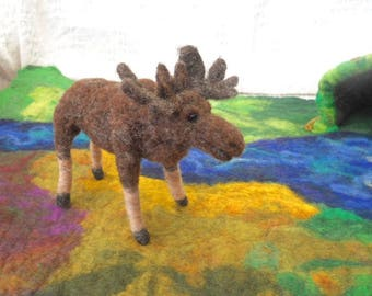 Needle felted moose, hand felted moose, Waldorf animal play, needle felted animal, pretend play, play mat, nature table nursery school