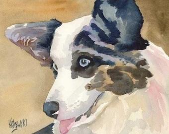 Welsh Corgi Art Print of Original Watercolor Painting - 8x10