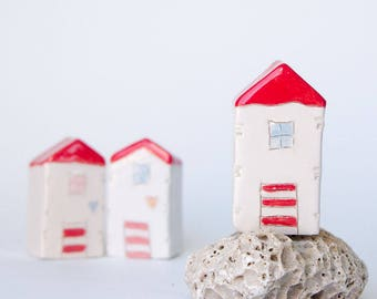 Custom order for Christina - Miniature clay beach house, Summer Ceramic Beach house -  Handmade ceramics, White house with red roof