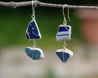 Long Sea Pottery Earrings Silver Earrings Mismatched Earrings Handmade Jewelry Asymmetric Earrings Porcelain Earrings Free Shipping Israel