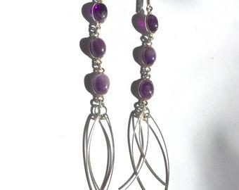 """Sterling Silver Amethyst Dangle Earrings 4"""""""