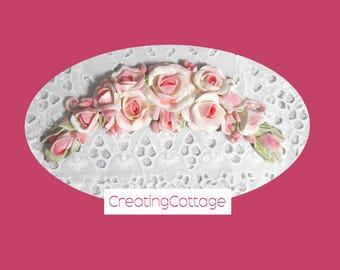 Unique Furniture Applique Large Arched Swag of Pink Roses and Rosebuds, Shabby Chic Furniture Overlay, OOAK Sculpture by CreatingCottage