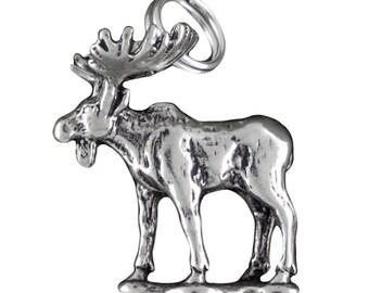 Sterling Silver Moose Charm Pendant 3D Northwest Animal