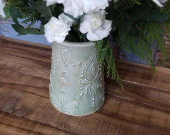 Vase, light green, decorative, unique mothers day gift, christmas, hannukah, last minute, IN STOCK, Ready to Ship