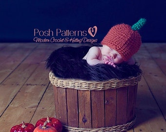 Crochet Pattern - Crochet Patterns Baby - Crochet Patterns for Babies - Crochet Pumpkin Hat - Includes 3 Sizes - Photo Prop - PDF 132