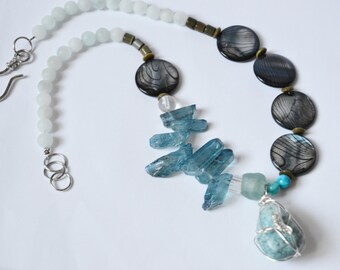 BLUE QUARTZ Mother of Pearl Necklace Wire Wrapped Turquoise Focal Stone