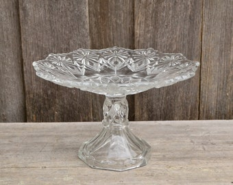 Vintage Clear Cut Glass Pedestal Cake Stand
