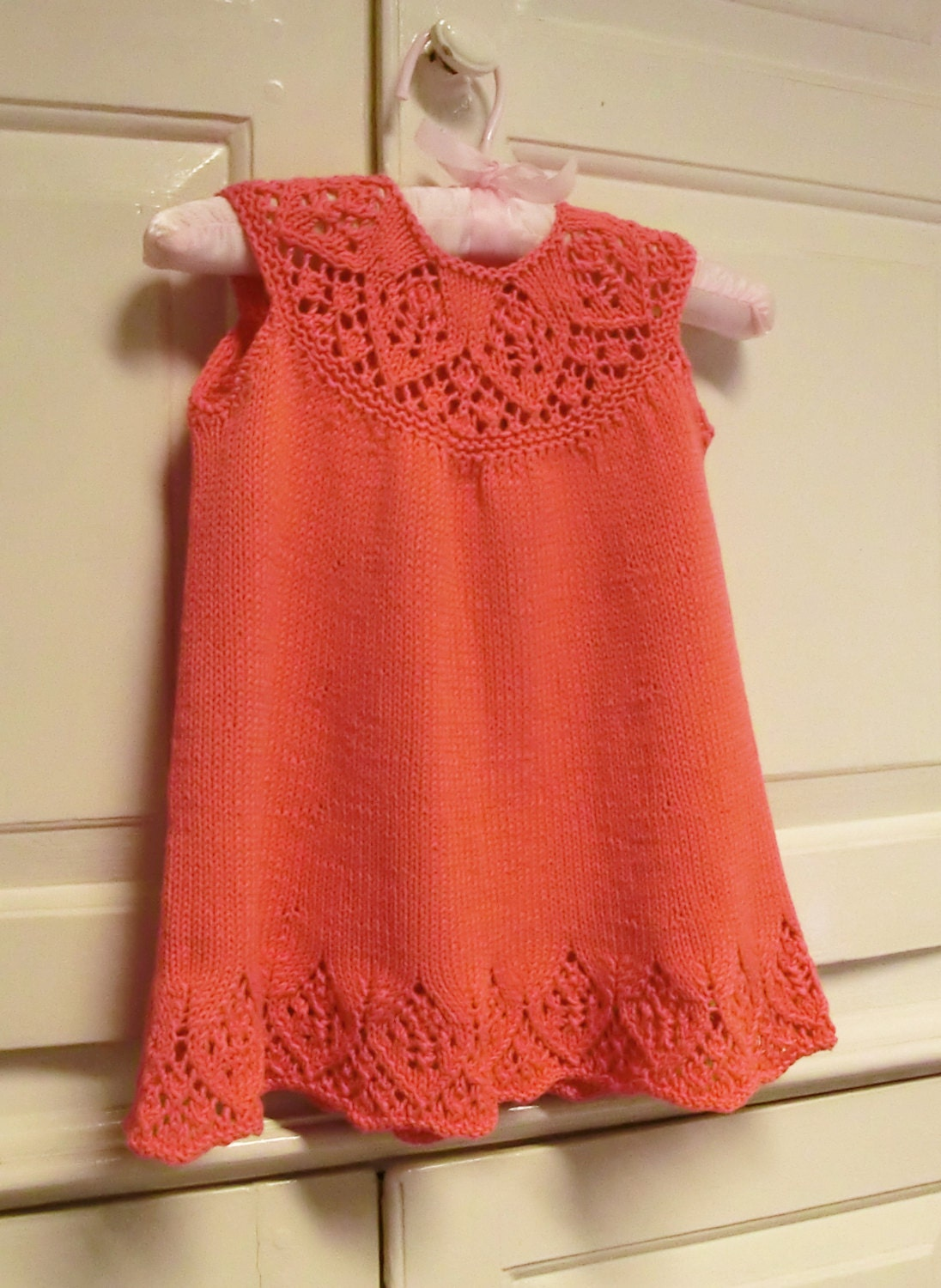 Baby Dress Knitting Pattern with Lace Yoke, Meredith Baby Dress ...