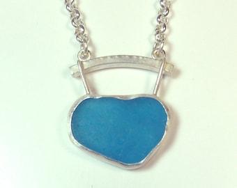 Bright Aqua Blue Sea Glass Pendant