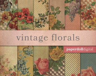 Vintage Floral Digital Paper - Country Craft Paper - Vintage Scrapbooking - Country Cottage Chic -  Instant Download - 12 Sheets