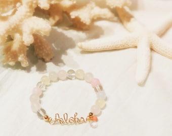 14KGF Aloha Natural stone bracelet Multi Color
