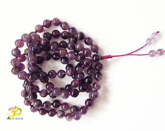 Amethyst 108 Mala, Purple Yoga Necklace for Mantra and Meditation, Hand Knotted Crystal Japa Mala