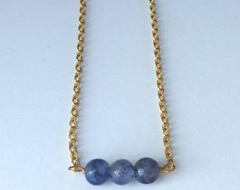 Iolite Dainty Bead Gemstone Necklace