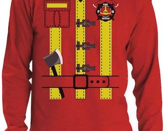 Halloween Fireman Uniform Firefighter Costume Long Sleeve T-Shirt