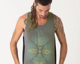 Mens Festival Tank Top, Silk Screen Print, Shamanic Dmt Shirt, Psy Clothing, Uv Clothing