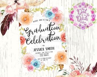 Floral Graduation Announcement/Invitation/Party - Digital Design - Printable
